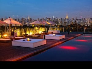 By day the Unique's rooftop activity revolves around the pool. By night the Skye Bar lounge is packed with young Paulistanos enjoying mad views of São Paulo.