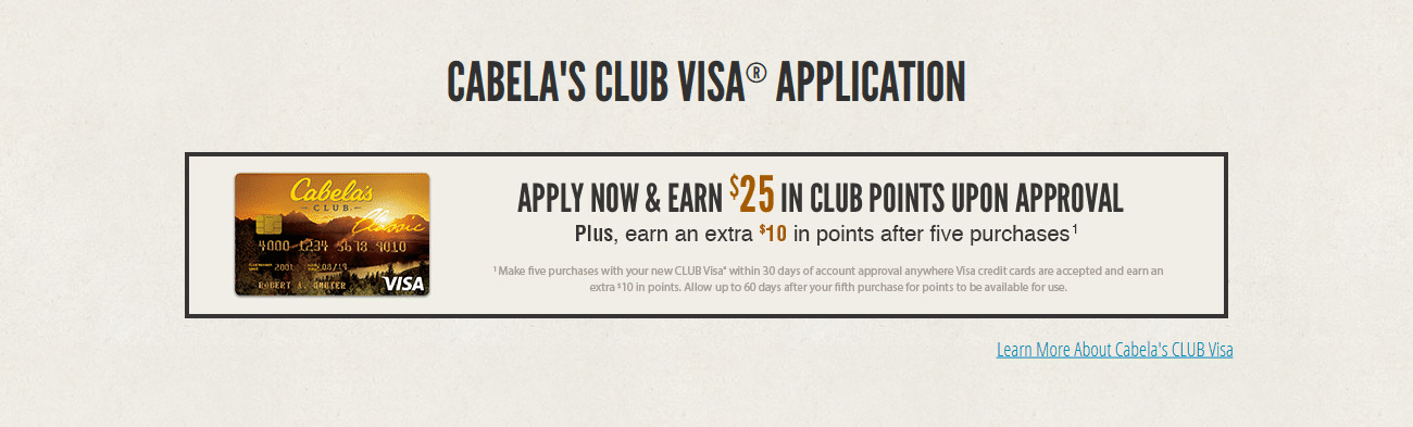 Cabelas CLUB Visa Application