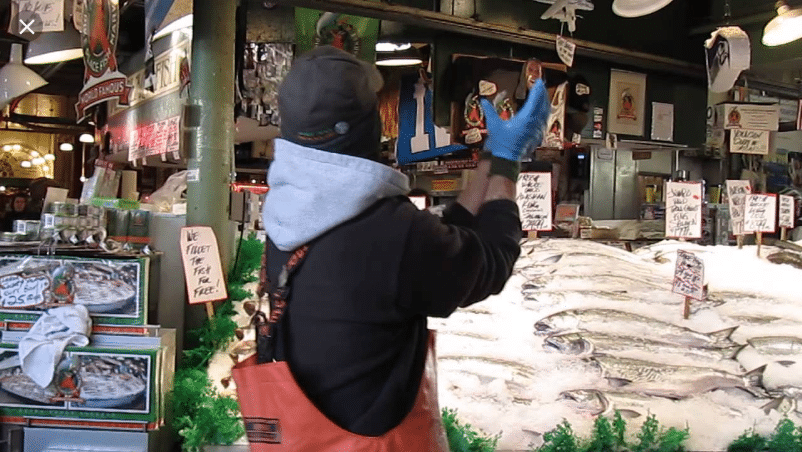 flying fish at the Pike Place Market