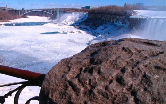 Rainbow Bridge, with the American Niagara Falls in the Distance