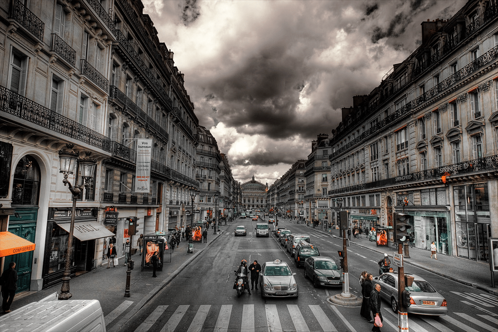 Driving away from the Opera in Paris